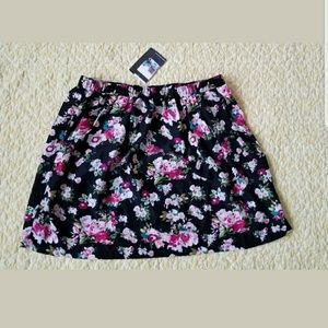 Pins and Needles Black Floral Skater Skirt URBAN O